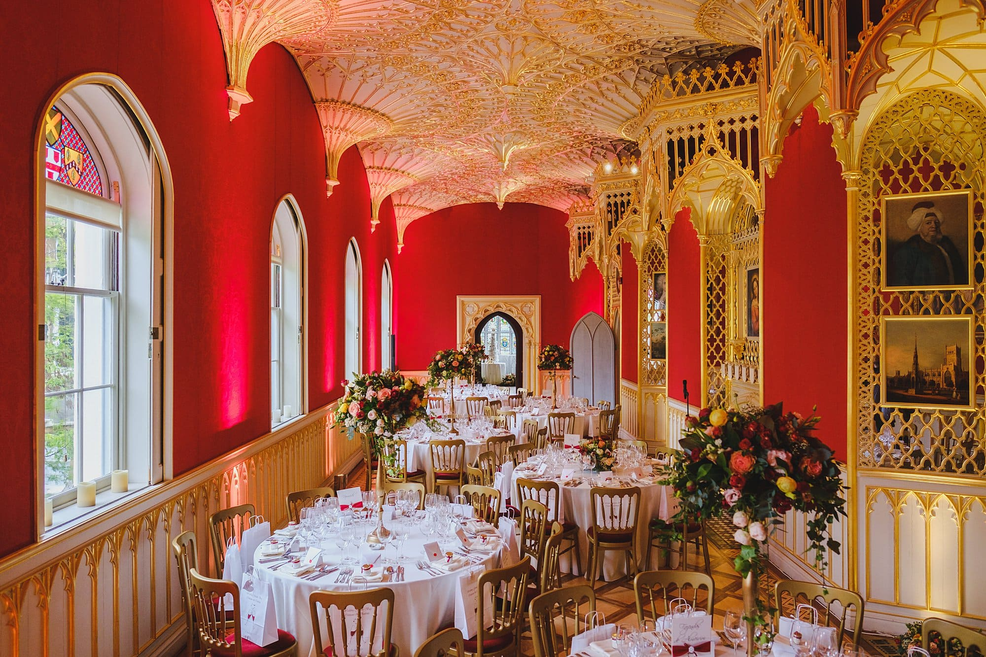 Strawberry Hill House gallery dressed for a wedding breakfast