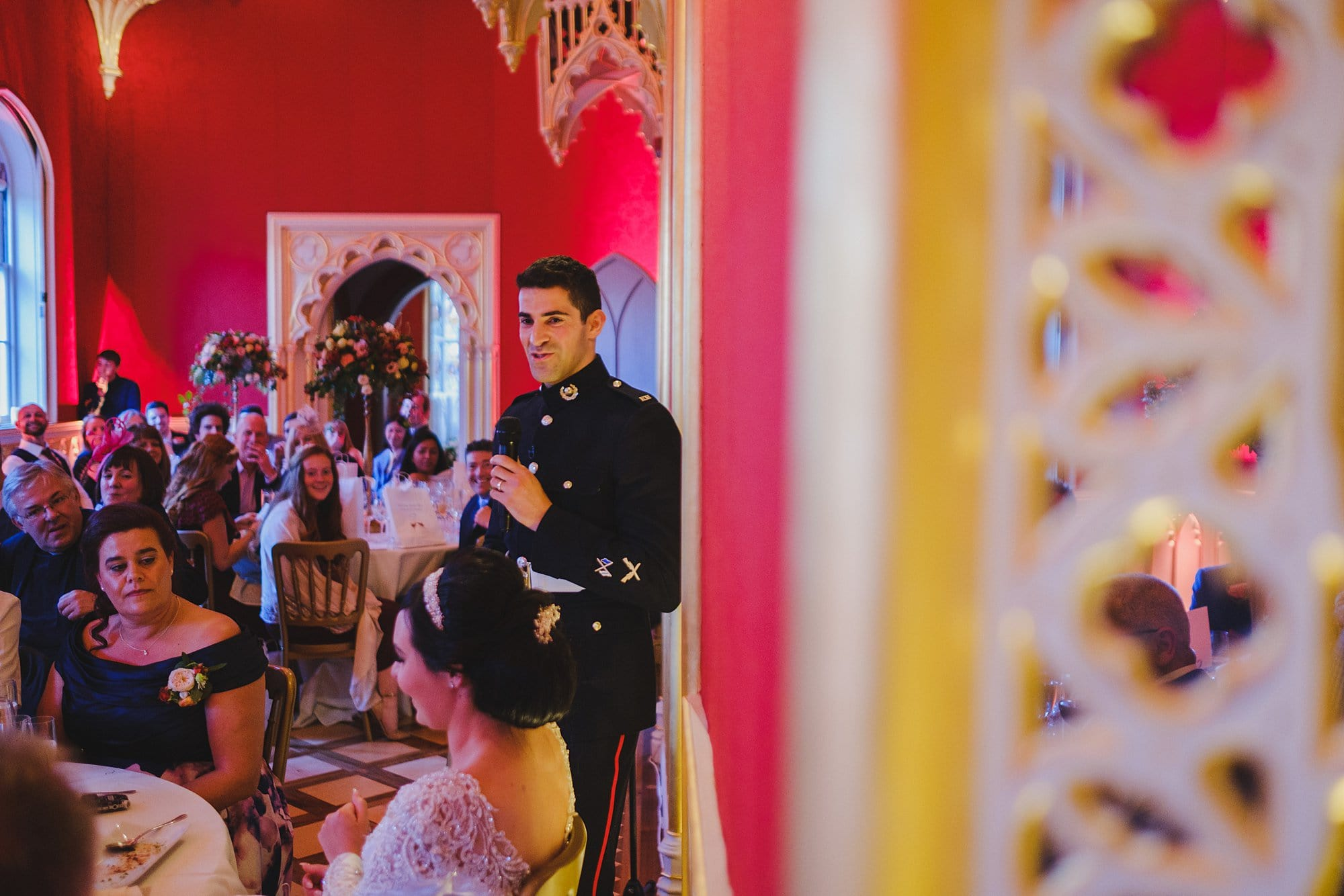 groom giving a speech in the Strawberry Hill House gallery