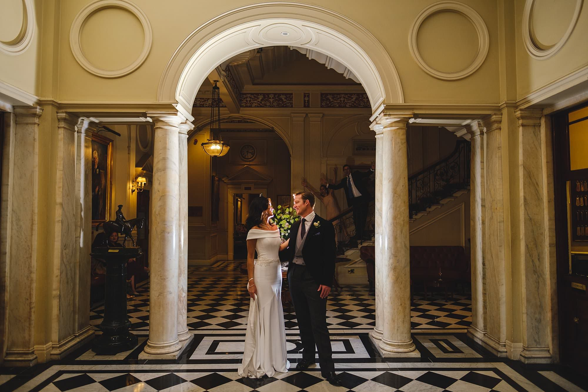 the bride and groom at a cavalry and guards club wedding