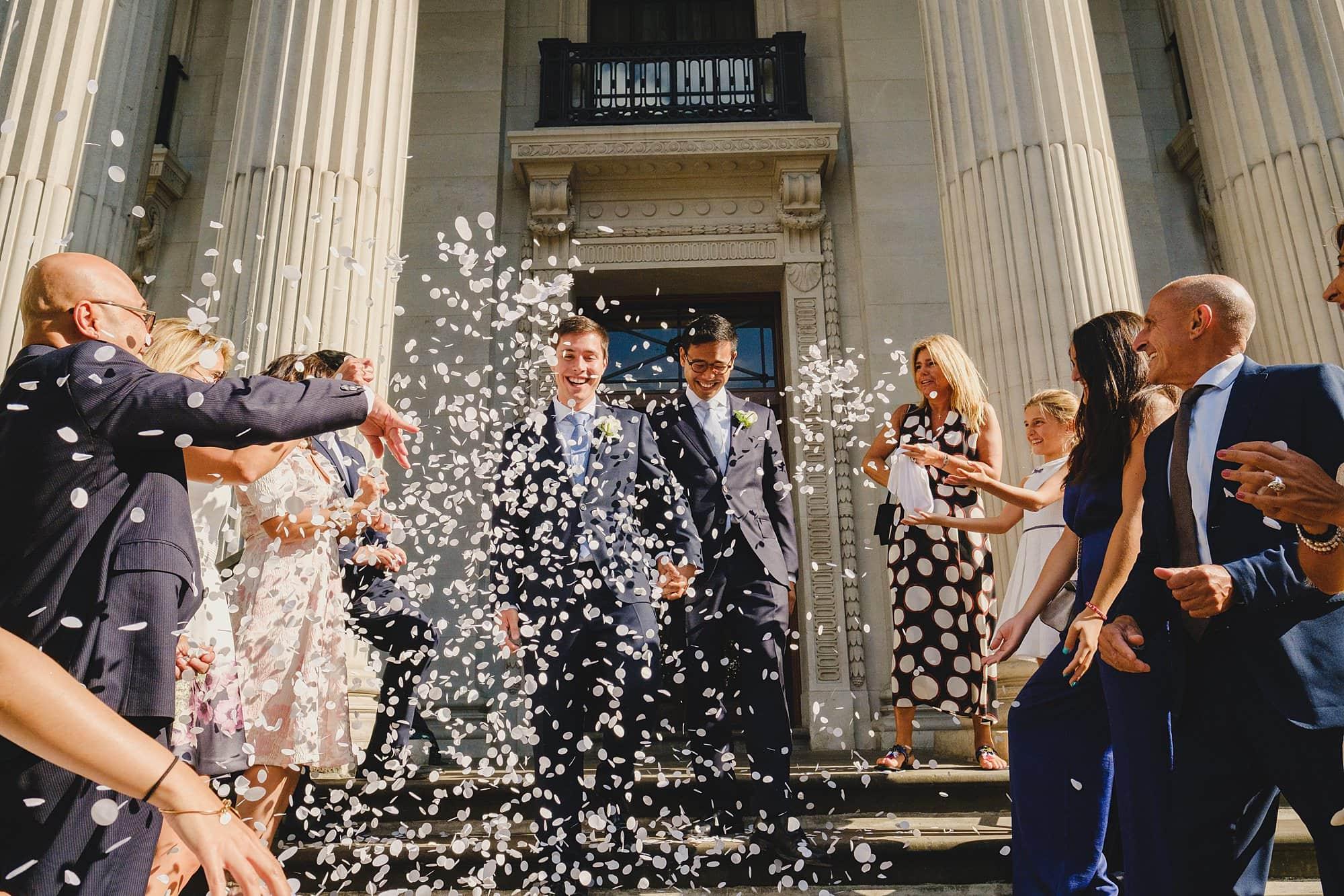 Wedding confetti at Old Marylebone Town Hall