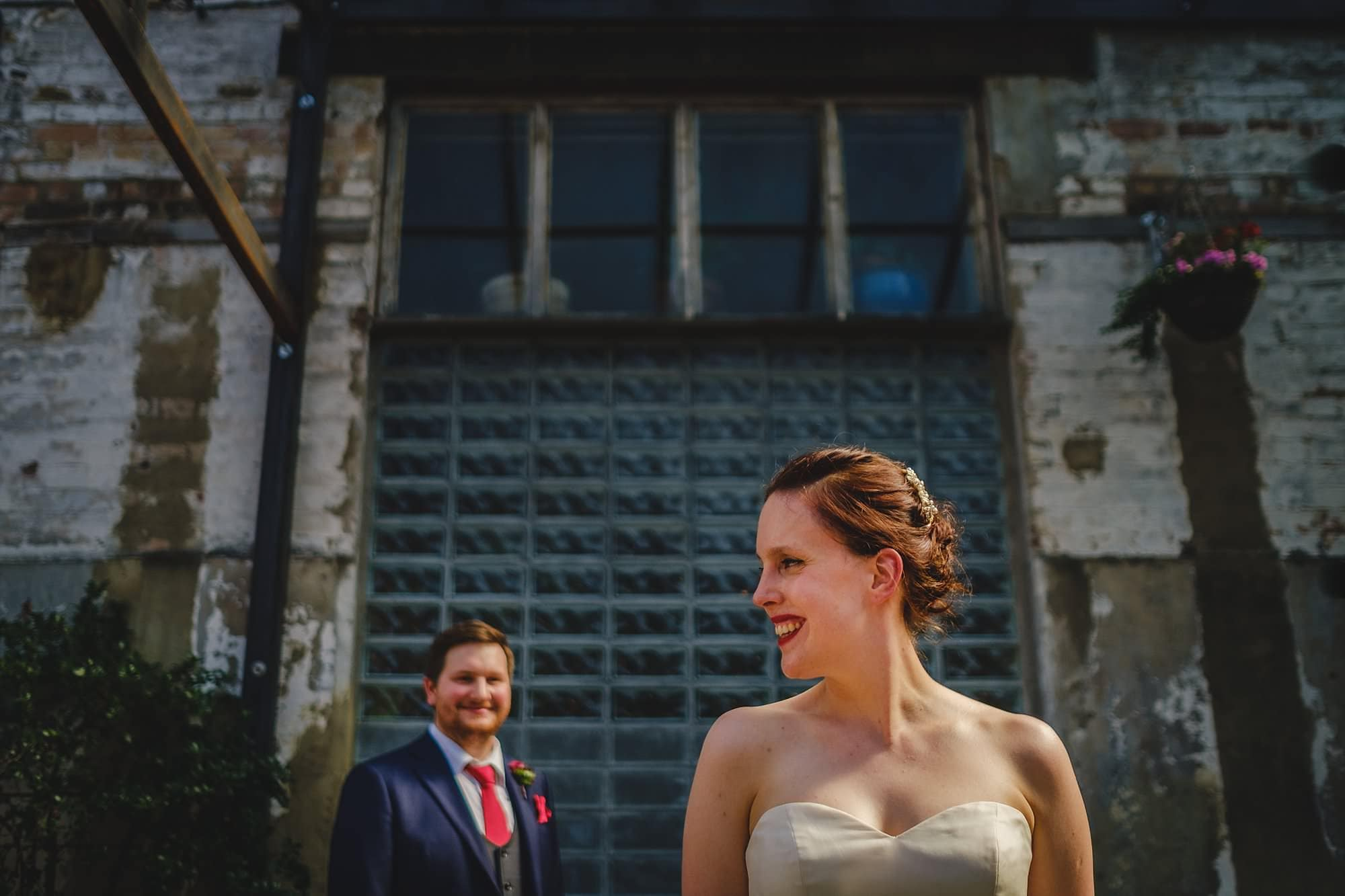 creative bride and groom portrait at Clapton Country Club