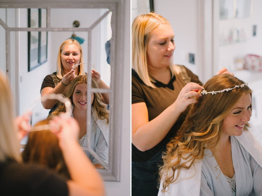 bridal prep before a lechlade wedding in the cotswalds